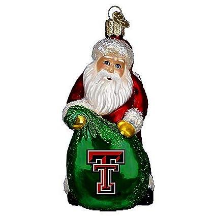 old world christmas texas tech red raiders santa glass ornament 63211 ncaa - Texas Tech Christmas Decorations