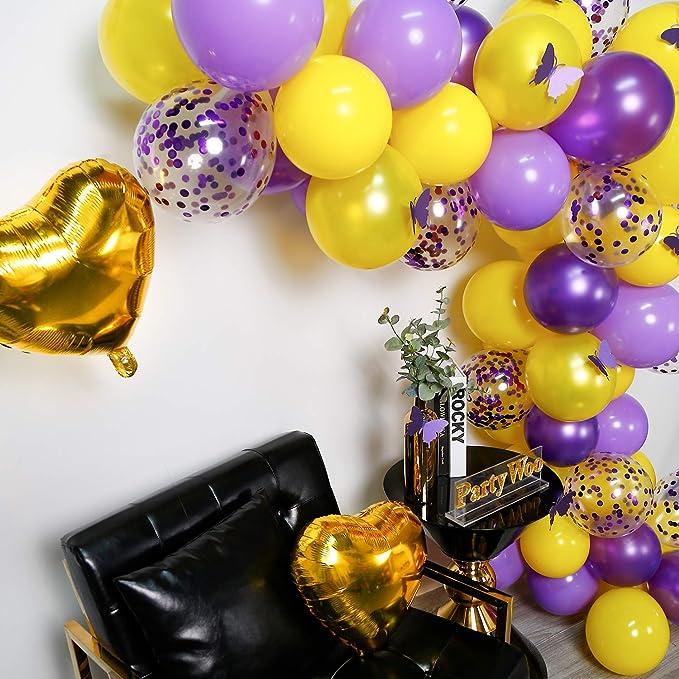 PartyWoo Globos Morados Amarillo, 82 Piezas Lilac Globos Globo Violeta Globos Amarillos Globos Confeti para Decoracion Fiesta Morado, Decoracion ...