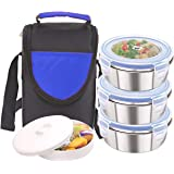 Rema - Stainless Steel Lunch Box Set - 3 Containers - 300ml Each - Delivered Directly from Factory (Blue)