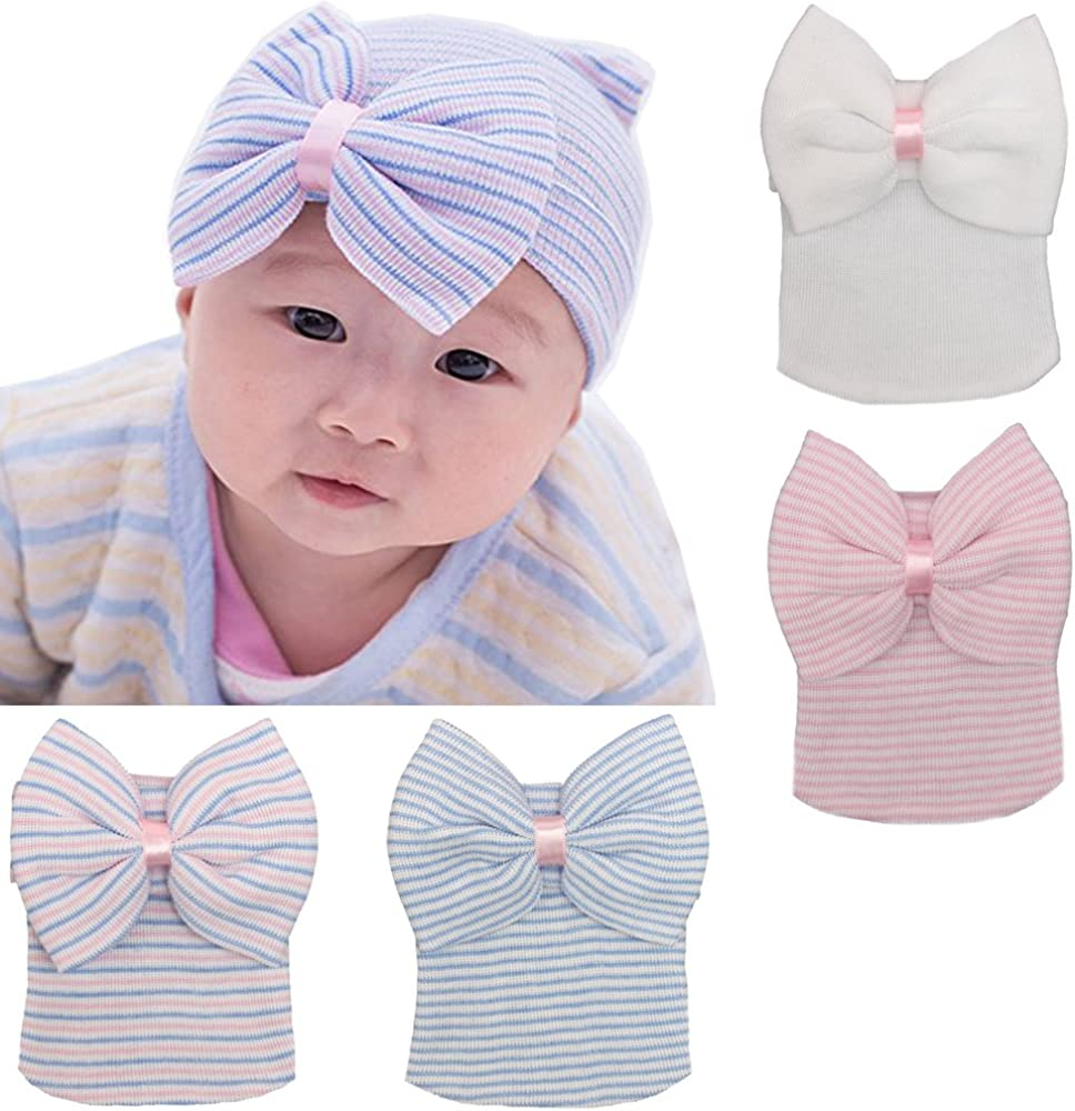 3 Pcs Newborn Hospital Hat Infant Baby Hat Cap with Big Bow Soft Cute Knot Nursery Beanie,One Size
