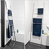 bremermann® Échelle pour serviettes, support pour serviettes avec 4 porte-serviettes, pour montage mural