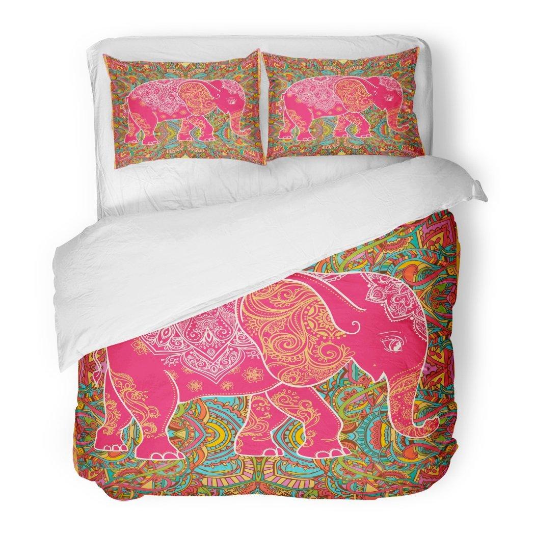 SanChic Duvet Cover Set Ethnic Greeting Beautiful Elephant Pattern Map Children's Pajamas Sites Extile Indian Decorative Bedding Set Pillow Sham Twin Size