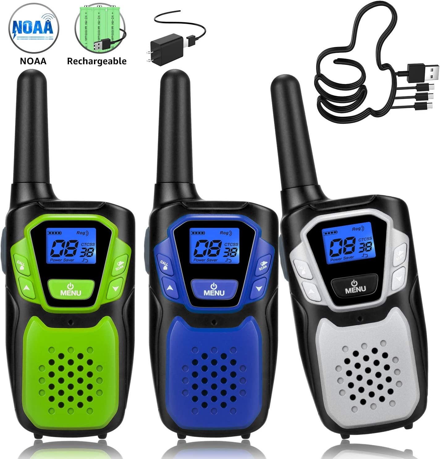Walkie Talkies 3 Pack Rechargeable, Easy to Use Long Range Walky Talky Handheld Two Way Radio with NOAA for Hiking Camping (1Blue & 1Green & 1Silver with Relugar Micro-USB Charger/Batteries)