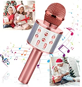 Wireless Bluetooth Karaoke Microphone, Portable Karaoke Machine for Kid Birthday Party Christmas, Best Gifts Toys for Girls Boys