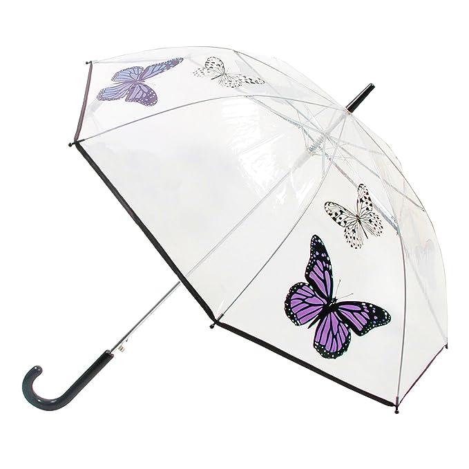 Paraguas de paseo transparente con diseño de mariposas y apertura automática para mujer (Talla Única/Mariposas moradas): Amazon.es: Ropa y accesorios