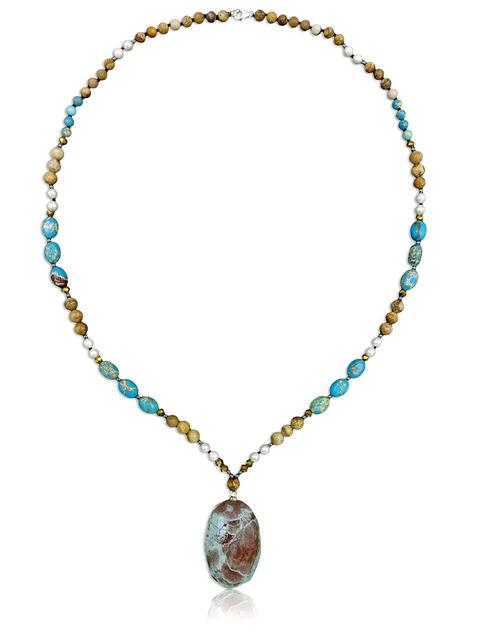"""MGR MY GEMS ROCK! Genuine Stone Imperial & Picture Jasper Long Necklace with Pendant, 31"""" Long."""