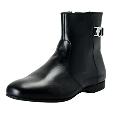 9169e1537c Amazon.com: Versace Collection Men's Black Leather Ankle Boots Shoes ...