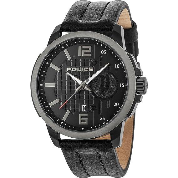 Police Reloj Análogo clásico para Hombre de Cuarzo con Correa en Cuero 15238JSBU/02: Amazon.es: Relojes