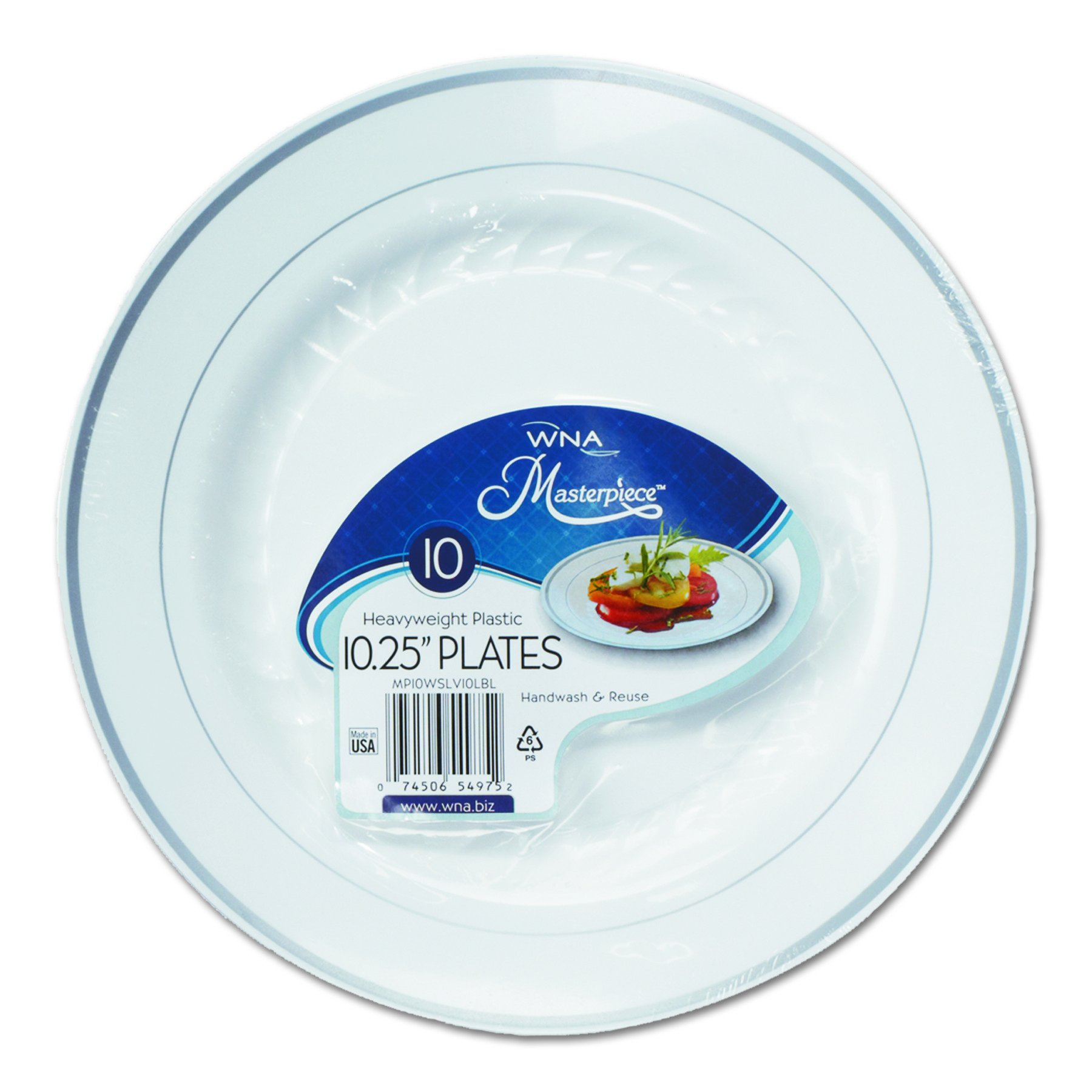 WNA RSM101210WS Masterpiece Plastic Plates, 10 1/4 Inch Diameter, White With Silver Accents, Pack of 10 (Case of 12 Packs) by WNA