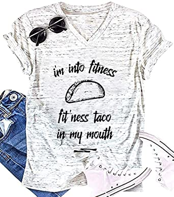 a10a4b54c Anbech Cinco De Mayo I'm Into Fitness Taco in My Mouth Shirt Graphics Women  Funny Casual V-Neck Tops at Amazon Women's Clothing store: