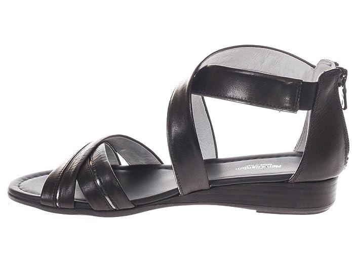 P805640D 100.Sandalo Fasce Incrociate in Pelle.Nero.39 Y7GNp