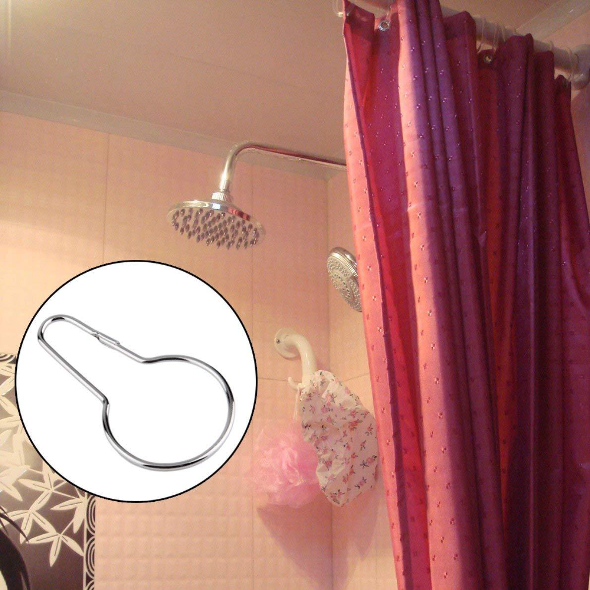 Superior quality12pcs Shower Bath Bathroom Curtain Rings Clip Easy Glide Hooks Chrome PlatedStylish