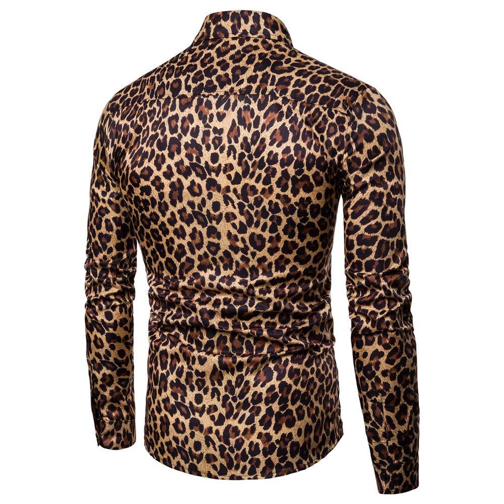 ZYUEER Herren T-Shirt M/änner Arbeiten Leopardenmuster Gedruckte Bluse Beil/äufige Lange H/ülsen D/ünne Hemd Oberseiten Um Shirt Top