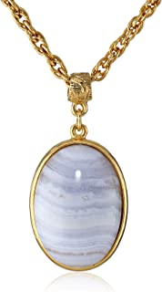 """product image for 1928 Jewelry """"Semi-Precious Collection"""" 14k Gold Dipped Oval Pendant Necklace, 16"""""""
