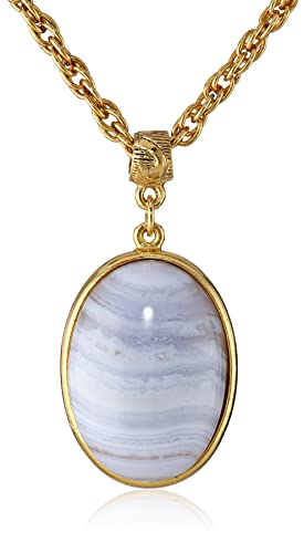 1928 Jewelry Semi-Precious Collection 14k Gold Dipped Oval Pendant Necklace, 16