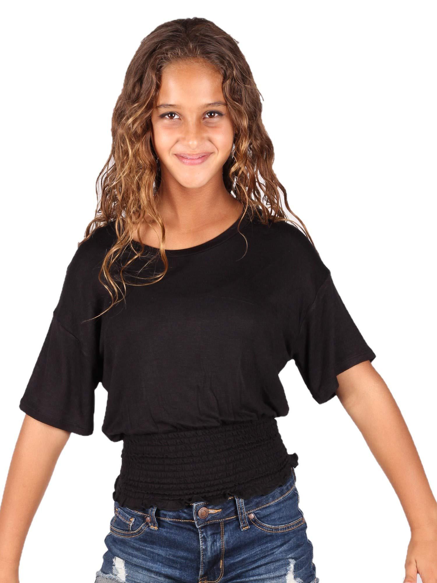 Lori&Jane Big Girls Black Solid Color Elastic Top 12