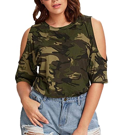 Plus Size Women s Cold Shoulder Camo Longer T-Shirt Military Short Sleeve  Tee Tops ( a778f5f63