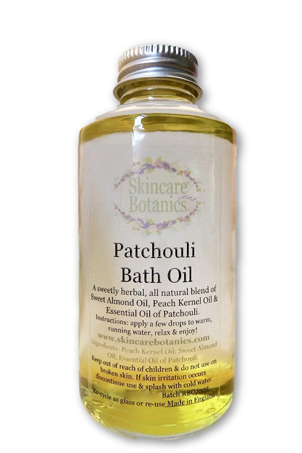 Aromatherapy Pure & Natural Patchouli Bath Oil | Luxurious Aromatherapy Bath Oil made with pure Essential Oil of Patchouli & Nourishing Skin Oils | Relax & Unwind in a Heavenly Aroma of Sweet & Herbal Patchouli | Envelops the body in uniqu
