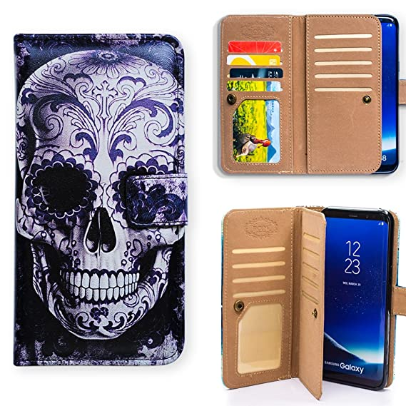 new style 0cad5 5419c Bfun Packing Galaxy S9 Plus Case,Cool Floral Skull Multifunction 9 Card  Slot Wallet Leather Case Cover For Samsung Galaxy S9 Plus/+