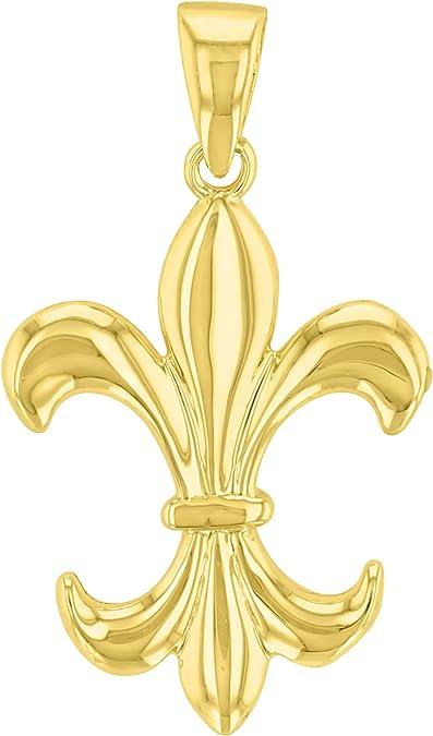 Details about  /Fleur De Lis Pendant in 14K Yellow Gold with Chain