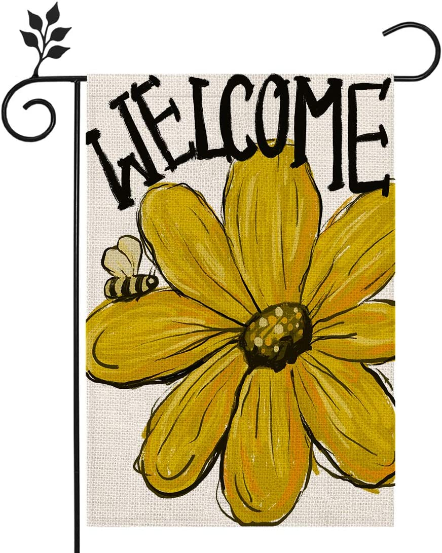 CROWNED BEAUTY Summer Sunflower Welcome Garden Flag 12×18 Inch Double Sided Vertical Yard Outdoor Decoration CF175-12