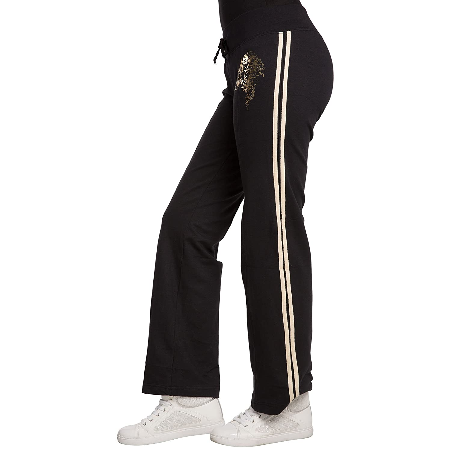 f55ac5db16 Sweet Vibes Junior Women Black Stretch French Terry Sweat Pants Contrast  Stripes Size M at Amazon Women's Clothing store: