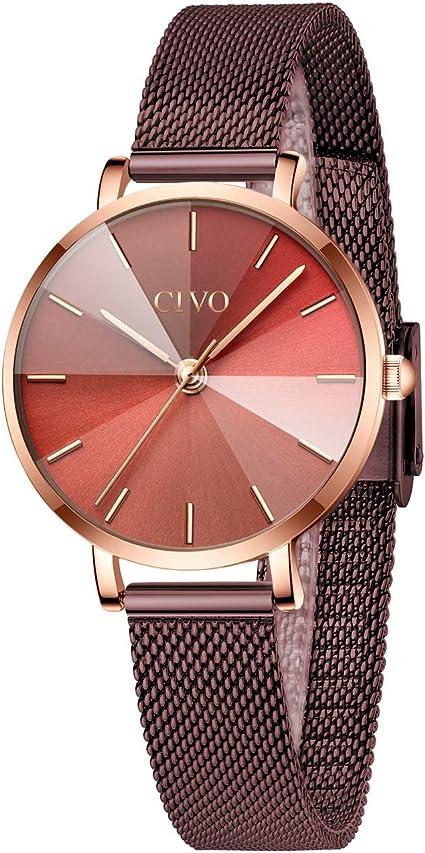 CIVO Relojes Mujer Reloj de Pulsera de Acero Inoxidable ...