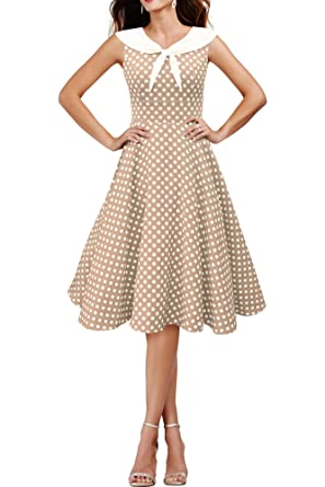 BlackButterfly Clio Polka Dot Vintage Swing Collared 1950s Dress (Champagne, ...