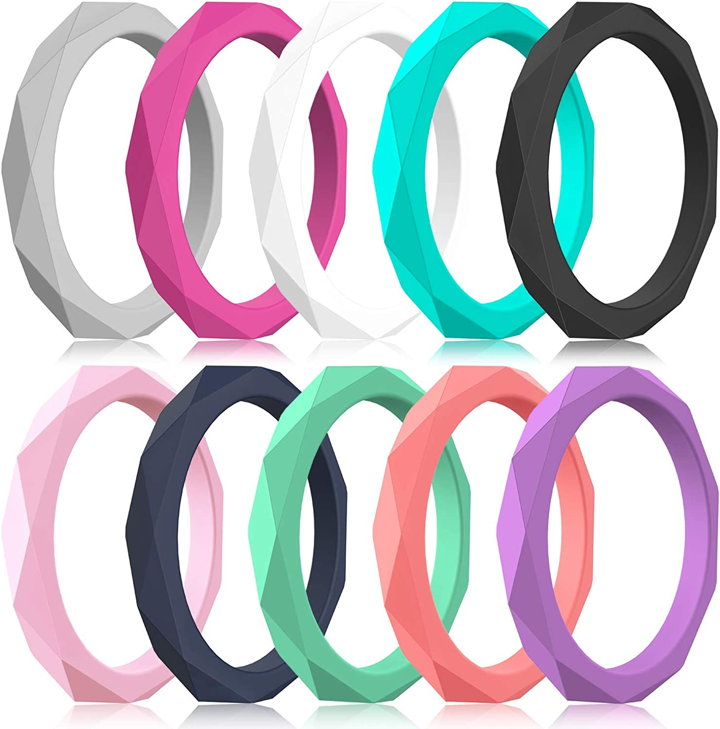 Zollen 10 Packs Silicone Wedding Rings for Women Thin Rubber Wedding Bands Stackable Ring Hypoallergenic Silicone