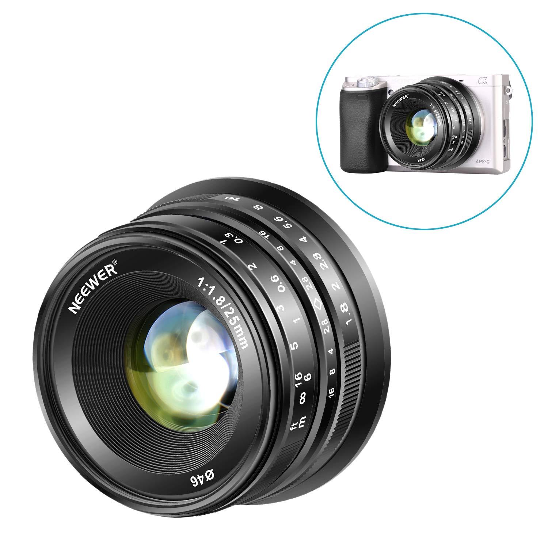 Neewer 25mm f/1.8 Manual Focus Prime Fixed Lens for Sony E-Mount Digital Mirrorless Cameras A6500, A6300, A6100, A5000, A5100, A6000, NEX 3 NEX 3N NEX 5 NEX 5R NEX 6 7, All Metal Construction (Black) 10093817