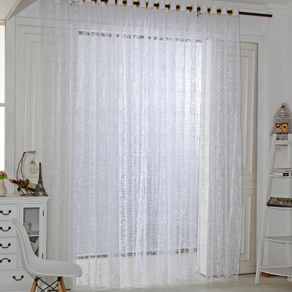 Sunsoar Five Leaves Flowers Sheer Window Curtain Panel Voile Tulle Curtains for Bedroom Living Room Home Decoration