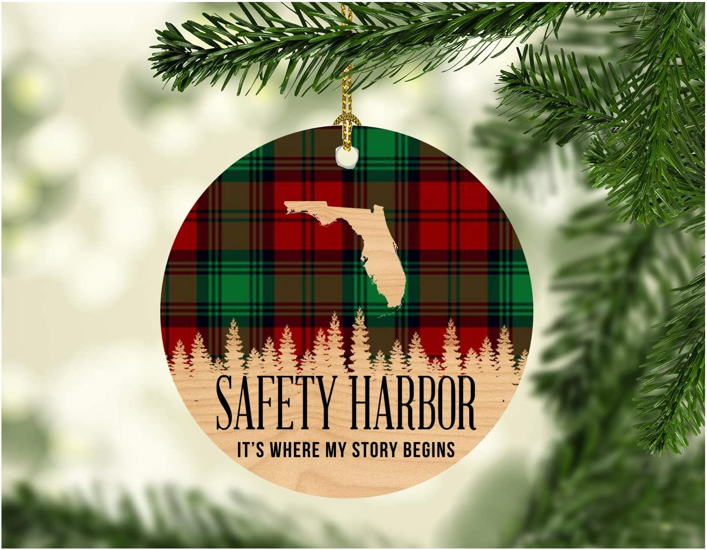 Christmas Decorations Ornaments 2020 Safety Harbor Florida It's Where My Story Begin Xmas Present Funny Giff for Family New Home Gift Xmas Tree Decoration 3