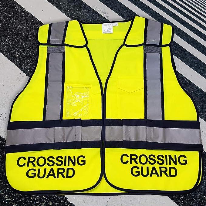 Crossing Guard Mesh Vest School Crosswalk Traffic Road Safety Reflective Green