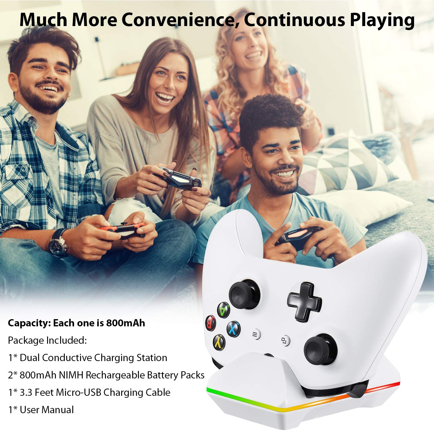 Xbox One Controller Charger, CVIDA Dual Xbox One/One S/One Elite Charging Station with 2 x 800mAh Rechargeable Battery Packs for Two Wireless Controllers Charge Kit- White by CVIDA (Image #6)
