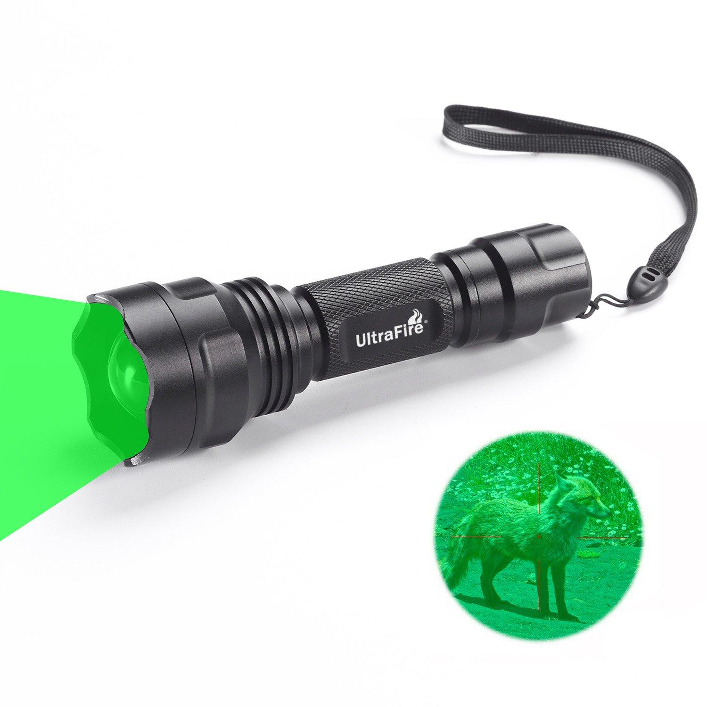 UltraFire Lumière Verte Lampe de Poche Focus Réglable Torche Chasse Verte 283 Lumens 520-535 nm Longueur d'onde,UF-1505G,Zoomable Imperméable Lampe Torche LED