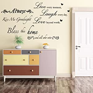 4 Sheets Wall Quote Decorations Bless This Home Wall Decals Kiss Me GoodnightWarmWallStickersQuotes forLivingRoomBedroom