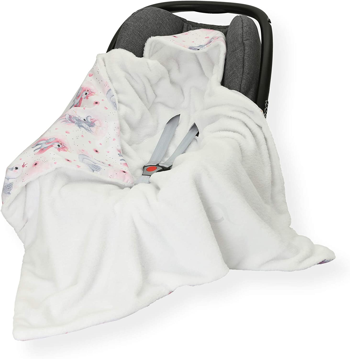 Feathers//White FOOTMUFF Double Sided 100 x 100cm Hooded Blanket with SEAT Belt Holes CAR SEAT Blanket//Cover//COSYTOES