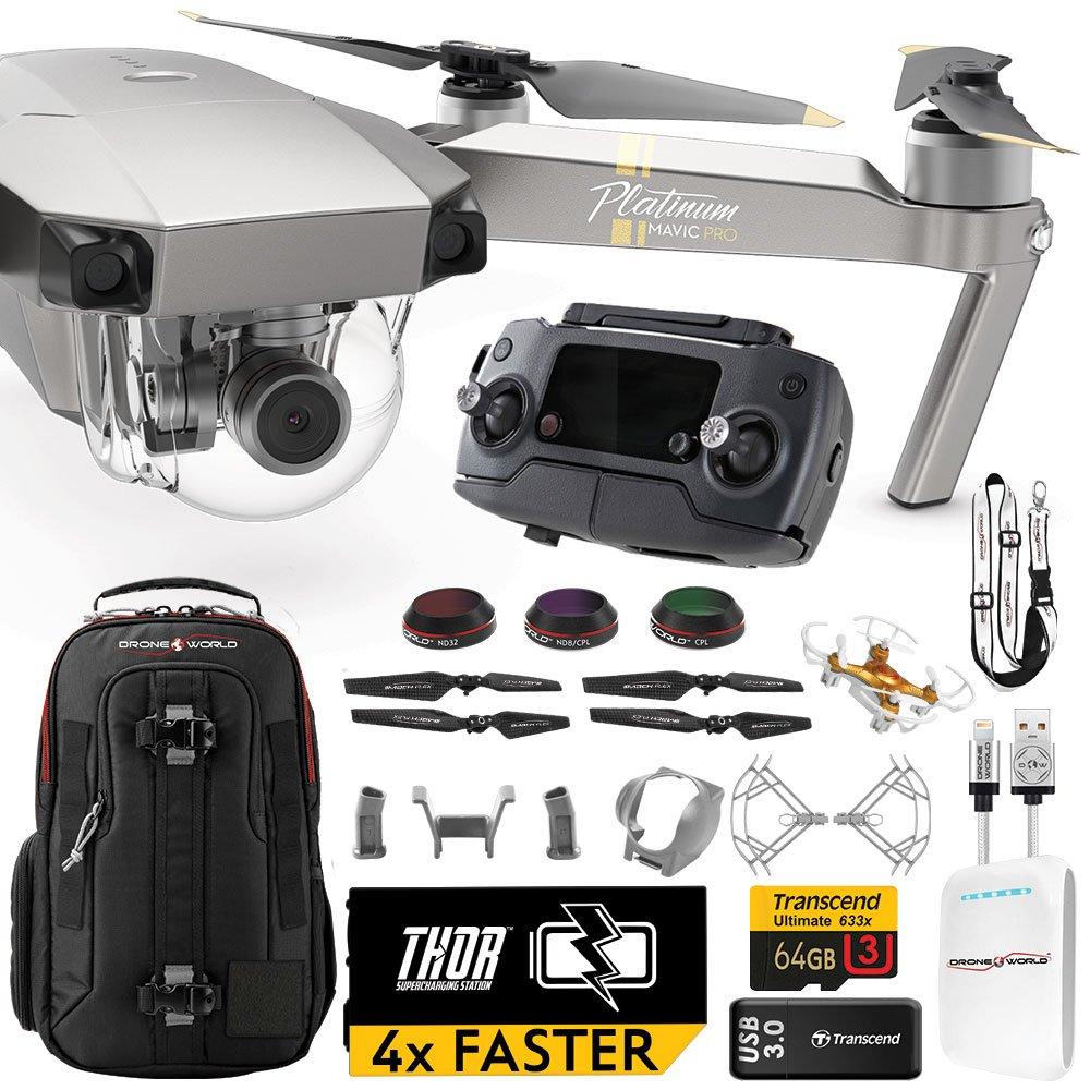 DJI Mavic PRO Platinum UPGRADE PLUS Kit w/ Backpack, Custom Bracket + Mount, Sunshade, Battery + Thor Charger, Lens Filters & More by Drone World
