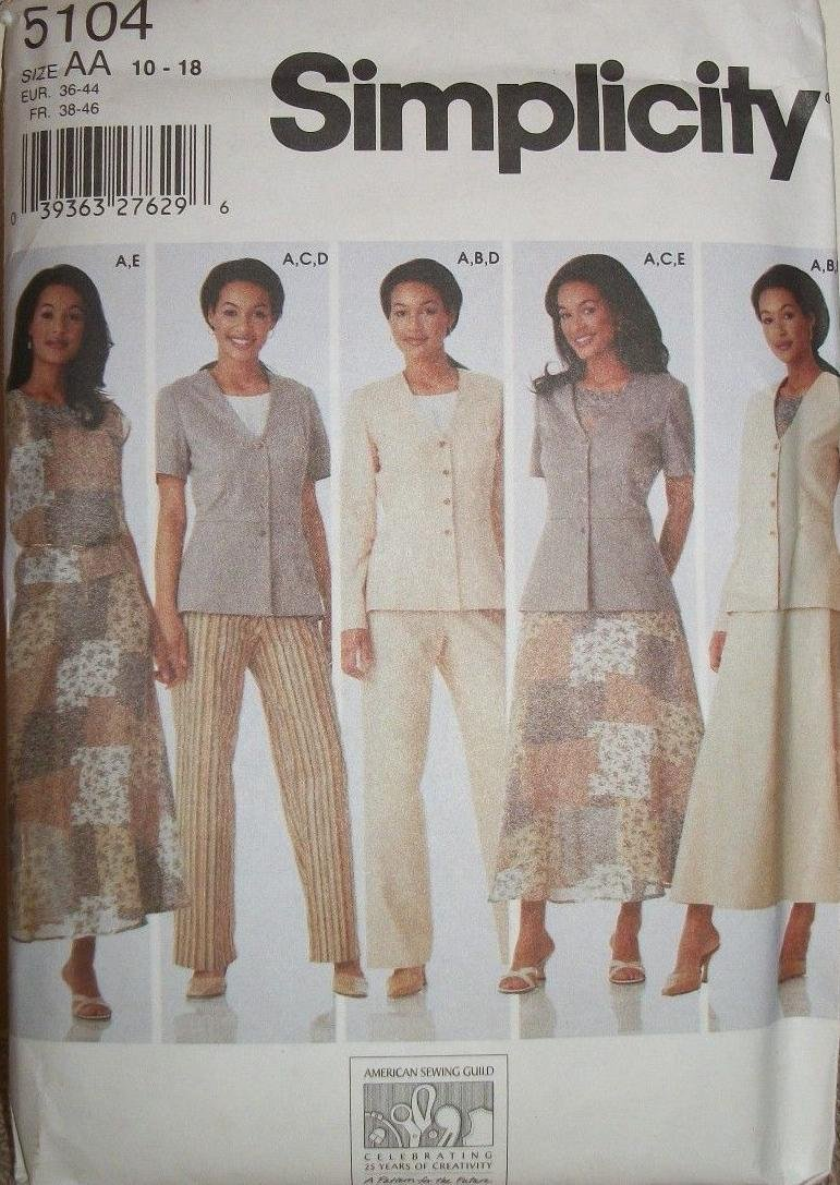 Simplicity 5104 - Misses' Top, Jacket, Pants and Skirt Pattern Size AA (10-18)
