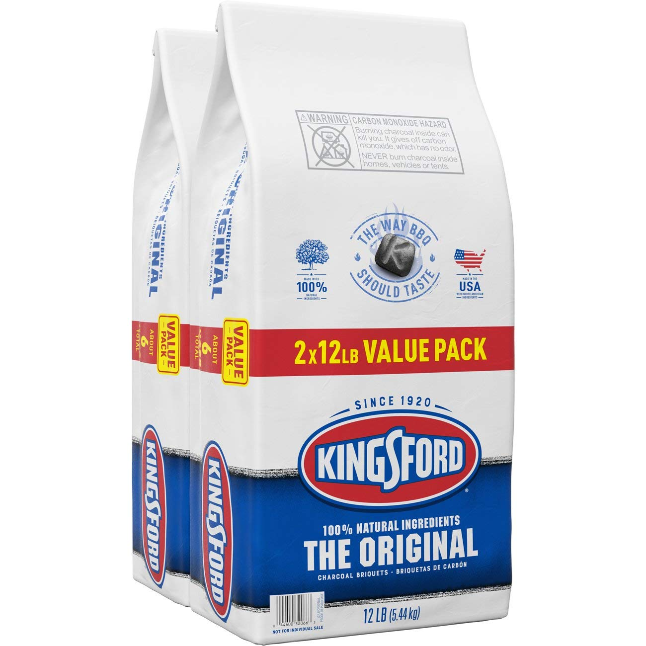Kingsford Original Charcoal Briquettes, Two 12 Pound Bags by Clorox