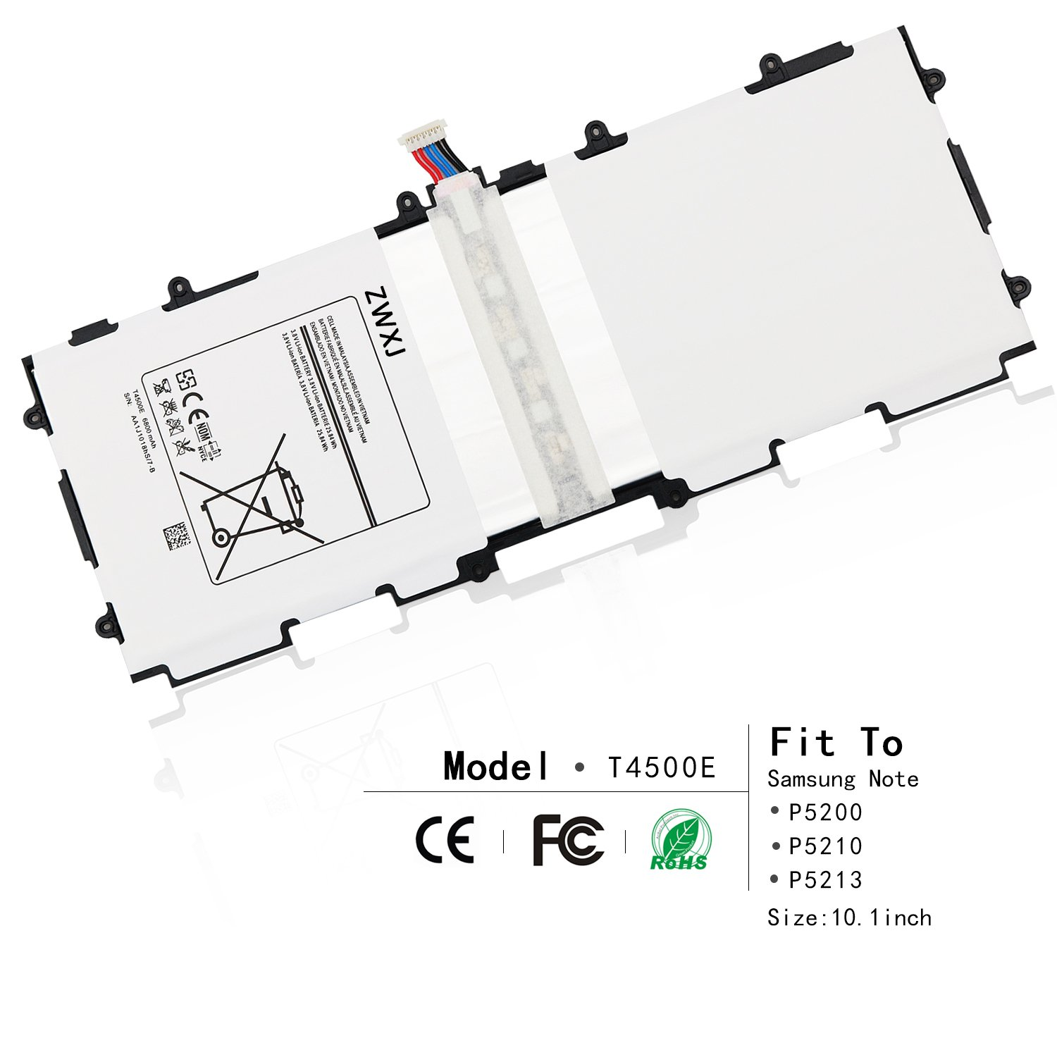 ZWXJ Li-ion Battery T4500E(3.8V 6600MAH) For Samsung Note Tablet Tab 3 10.1'' P5200 P5210 P5213 GT-P5200 GT-P5210 GT-P5220 GT-P5213