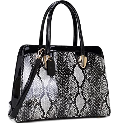 e5c4a1fa33a6 Dasein Women s Fashion Snake Print Top Zip Work Tote Satchel Handbags  Shoulder Bag Purse 2 Snakeskin