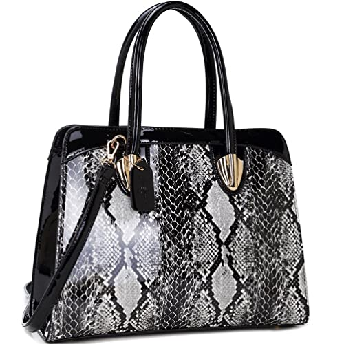d585af9a9e Dasein Women s Fashion Snake Print Top Zip Work Tote Satchel Handbags  Shoulder Bag Purse 2 Snakeskin