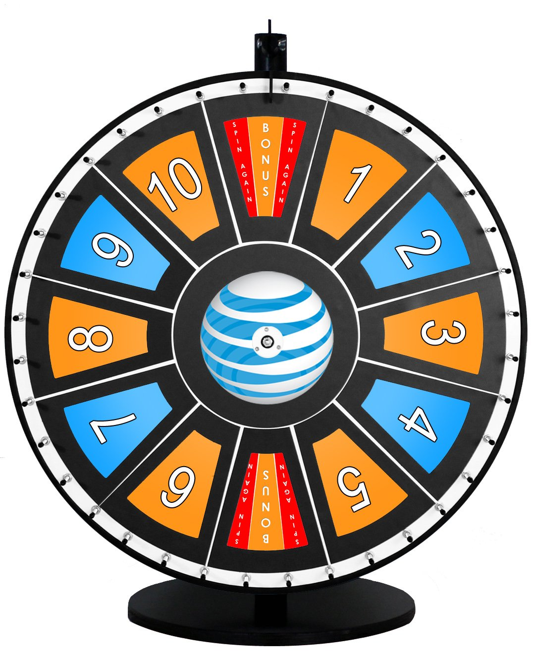 36in Insert Your Own Graphics Dry Erase Prize Wheel with Black Magnetic Frames and Table Stand