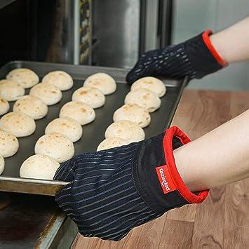 Adapt/és pour la Cuisine Coziselect Gants de Four la Cuisson au Four Design Antid/érapant en Silicone Les Grillades Gants de Cuisine R/ésistants /à la Chaleur et Set de Maniques Gris