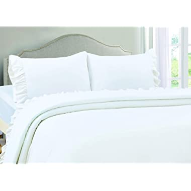 VINTAGE SELECT Queen (White) 4 Piece Ruffle Hem Ultra Soft Sheet Set Wrinkle & Fade Resistant