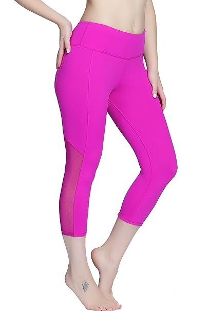 e8e98572a269ad RUNNING GIRL Flexible Mesh Panel Ankle Leggings Workout Running Fitness  Yoga Pants Leggings with Pockets (