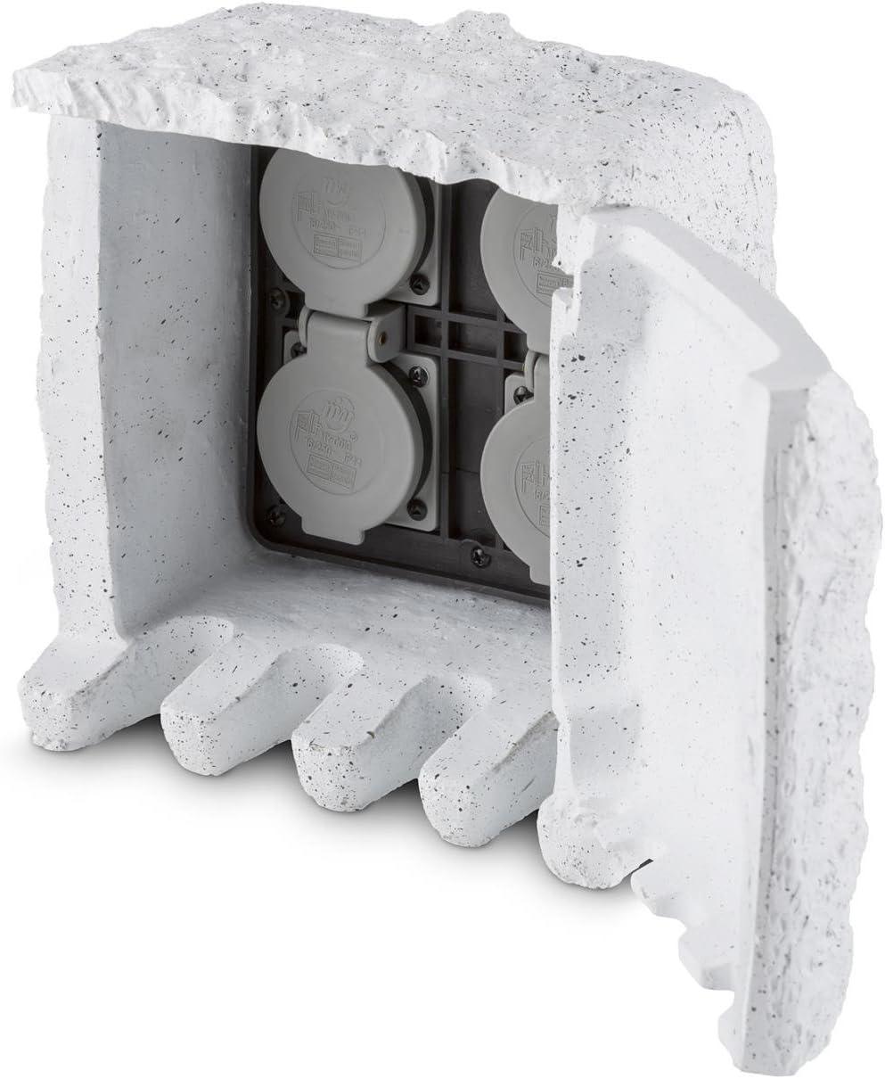 Waldbeck Power Rock Toma de corriente para jard/ín imitaci/ón piedra gris claro 4 cajas de enchufe, 1.5 m de cable, resistente a salpicaduras