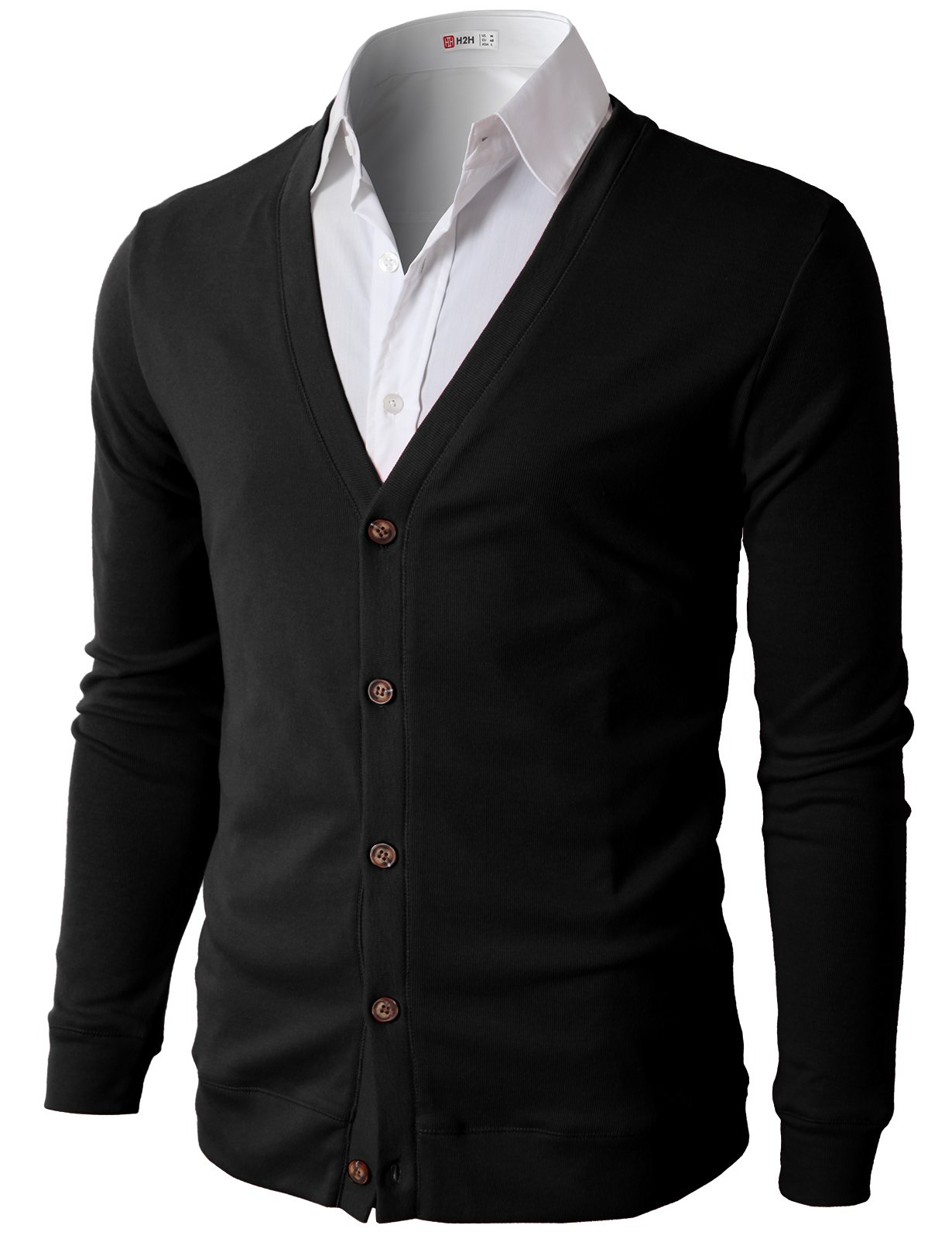H2H Mens Button Down V Neck Cardigans Black US L/Asia XL (CMOCAL012)