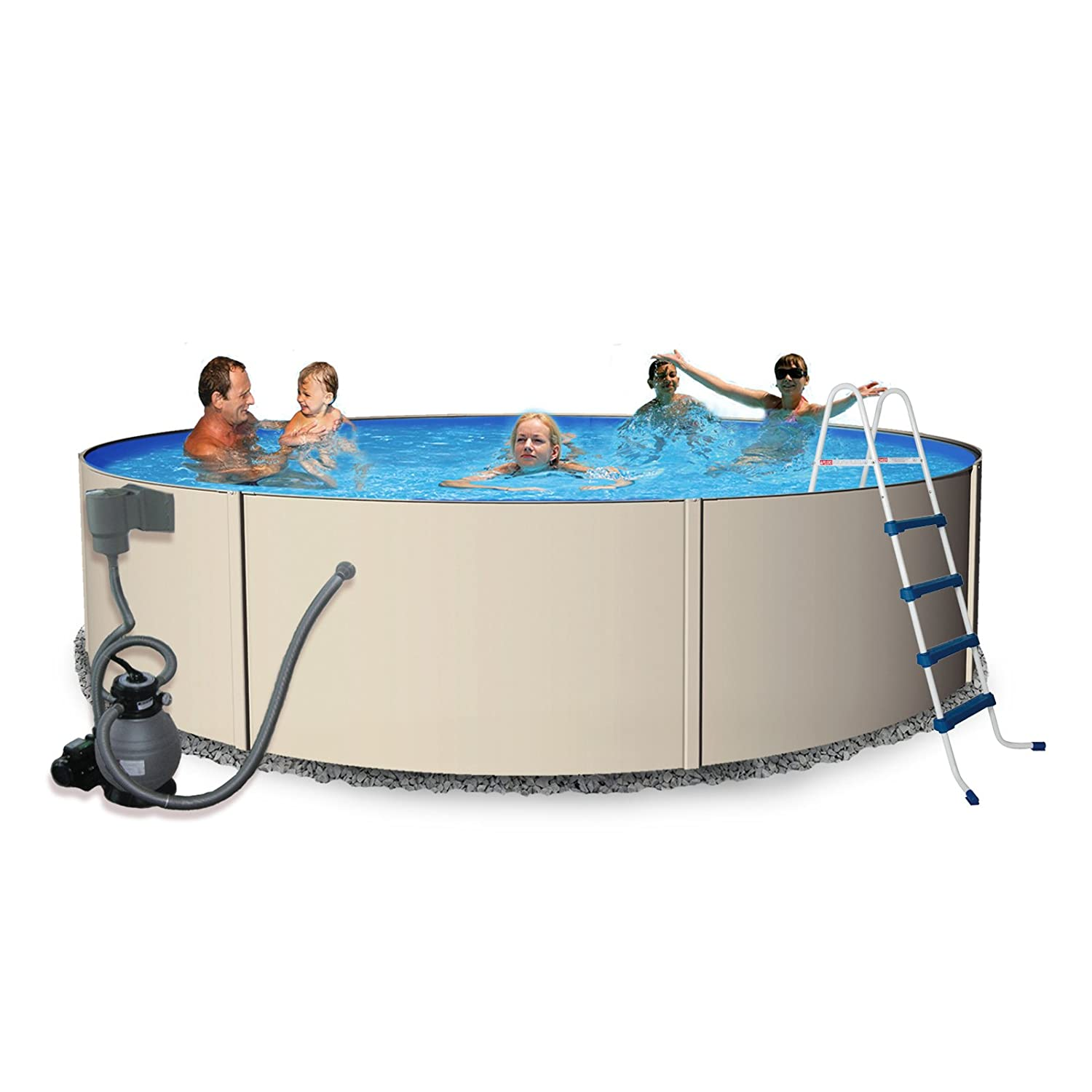 Rugged Steel 12-ft Round 48-in Deep Metal Wall Swimming Pool Package